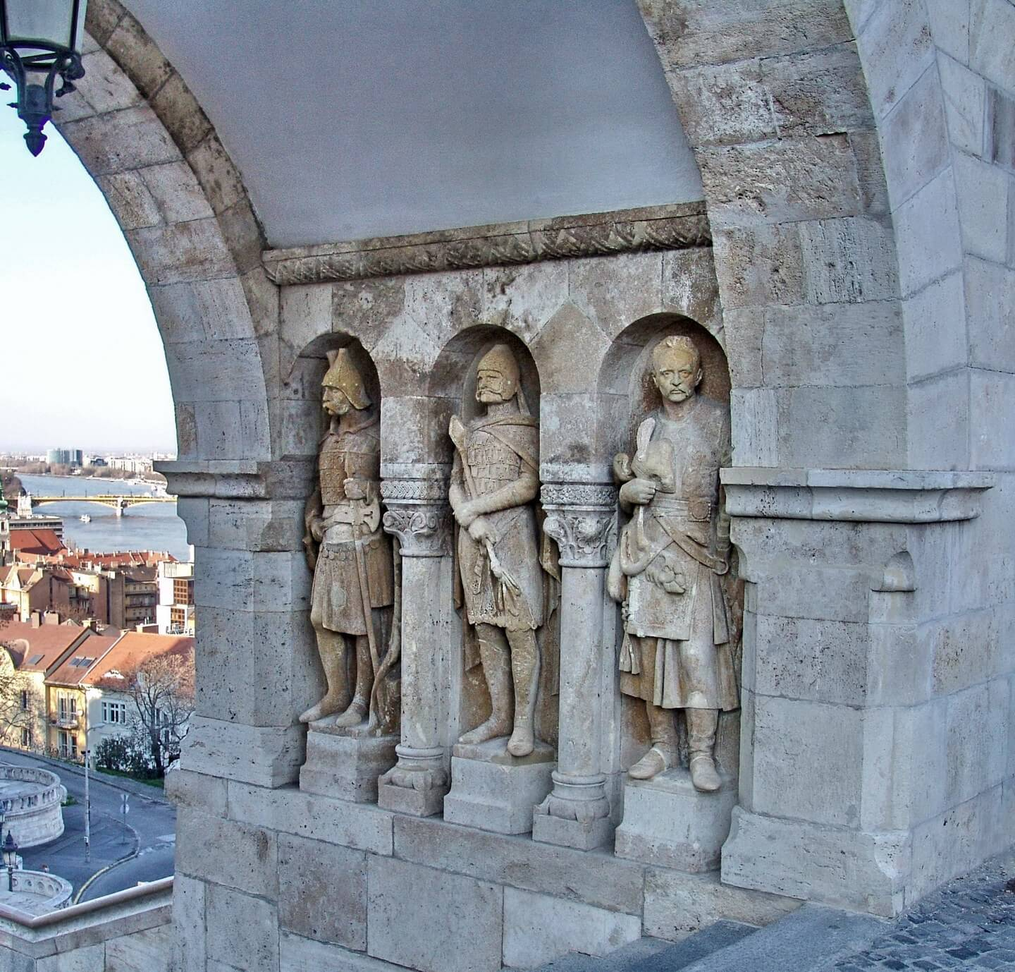 Stand with statues in the Royal Palace complex in Budapest, Hungary